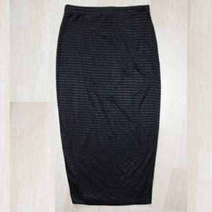 Women's Black Sheer Striped Mesh Pencil Skirt, SML